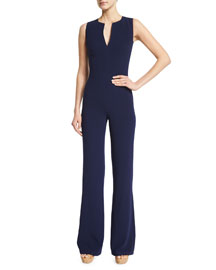 Isadore Sleeveless Double-Face Wool Jumpsuit, Dark Navy