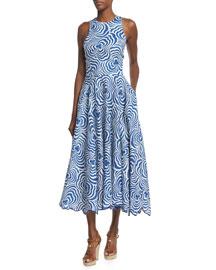 Raquel Swirl-Print Linen Dance Dress, Navy/Natural White