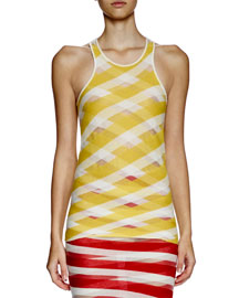 Checkered Racerback Tank Top, White/Yellow