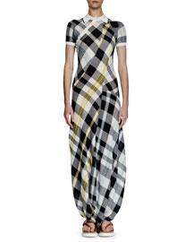 Short-Sleeve Plaid Maxi Dress W/Gathered Hem, Navy/White/Lemon