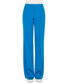Straight-Leg Silk Crepe Pants, Glass