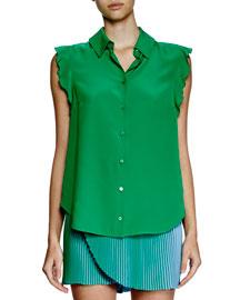 Ruffle-Sleeve Silk Blouse, Green