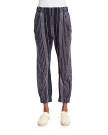 Striped Linen-Blend Ankle Pants, Ink
