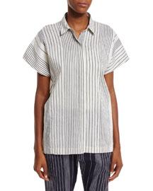 Short-Sleeve Striped Linen Top, Canvas