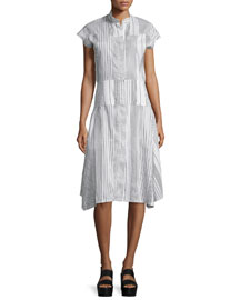 Short-Sleeve Linen/Silk Shirtdress, Canvas