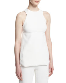 Sleeveless Bow-Back Blouse, White