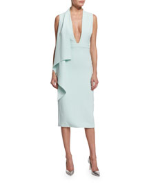 Sleeveless Plunging Cady Scarf Dress, Mint
