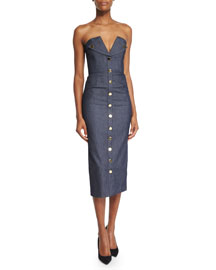Strapless Bustier Denim Tuxedo Dress, Indigo