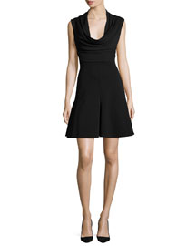 Sleeveless Cowl-Neck Power Dress, Black