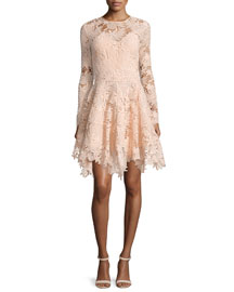 Mesa Long-Sleeve Guipure Lace Handkerchief Dress, Blush