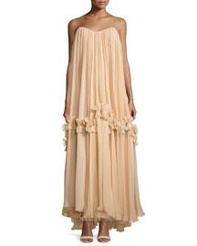 Bimeni Plisse Chiffon Cami Gown, Marzipan