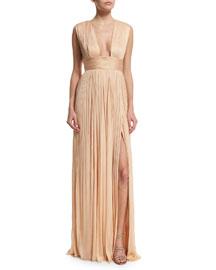 Rita Sleeveless Plisse Silk Tulle Gown, Marzipan