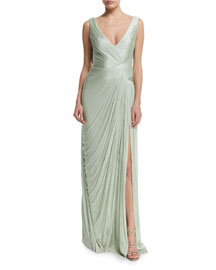 Lacerta Draped Silk Tulle Gown, Quartz