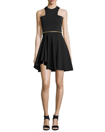 Sleeveless Neoprene Mini Dress, Black