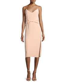Twisted Silk Cami Dress, Peach