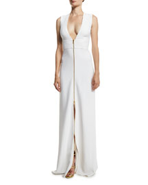 Sleeveless Plunging Zip-Front Cady Gown, White