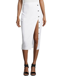 Stretch-Knit Button-Side Pencil Skirt, White