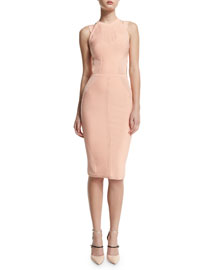 Sleeveless Cutout Dress w/Ribbed Trim, Peach
