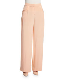Wide-Leg Silk Crepe Pants, Peach
