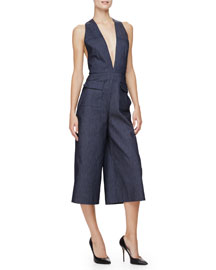 Sleeveless Wide-Leg Cropped Jumpsuit, Indigo