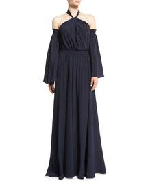 Cold-Shoulder Bell-Sleeve Halter Gown, Navy