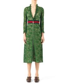 Knit Lace Dress w/Web Net Waist, Green Grass