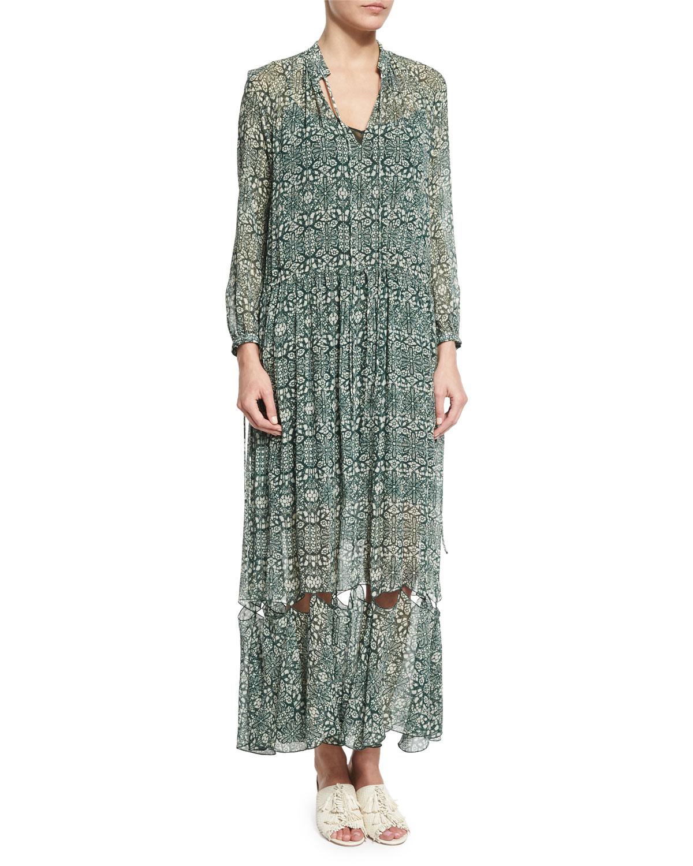 Derek Lam Long-Sleeve Tie-Neck Cutout-Hem Dress, Green/Multi, Size: 32, Green Multi