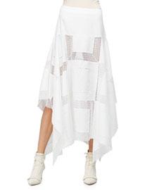 Embroidered Handkerchief Midi Skirt, White
