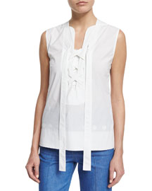 Sleeveless Lace-Front Poplin Top, White