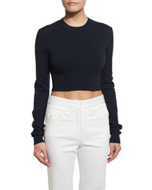 Long-Sleeve Cropped Crewneck Sweater, Navy