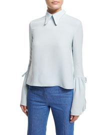Silk-Crepe Bell-Sleeve Top, Pale Blue