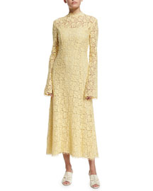 Mock-Neck Bell-Sleeve Lace Midi Dress, Lemongrass
