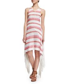 Sleeveless Striped Knit Fringe Dress, White/Pink