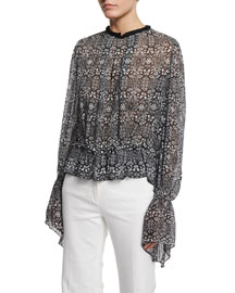 Printed Georgette Ruffle-Sleeve Blouse, Black Multi