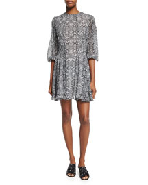 Puff-Sleeve Printed Silk Dress, Black/Multi