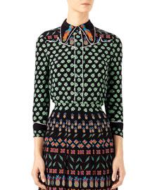 Four Leaf Clover Silk Shirt