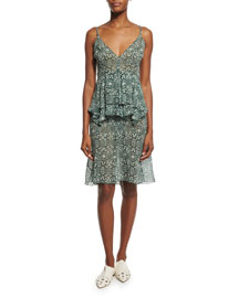 Sleeveless Printed Silk Peplum Dress, Green/Multi