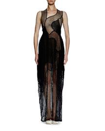 Sleeveless Asymmetric Mesh Lace Gown, Black