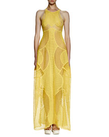 Valerie Mesh-Embroidered Gown, Lemon