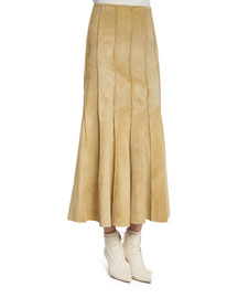Pleated Suede Midi Skirt, Ginger