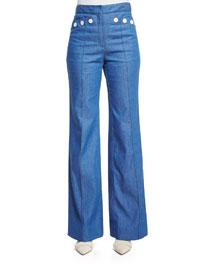 High-Waist Denim Sailor Pants, Bright Blue
