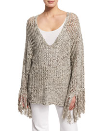 Long-Sleeve Melange Knit Sweater, Natural Taupe