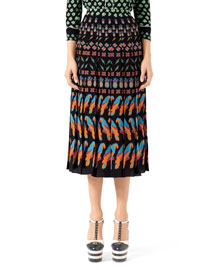 Exotic Printed Crepe de Chine Skirt, Black/Multi