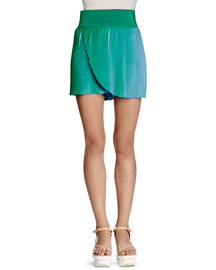 Pleated Ombre Mini Skirt, Green