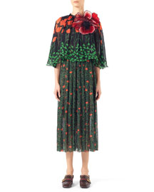 Printed Fil Coupe Cape Dress, Black Print