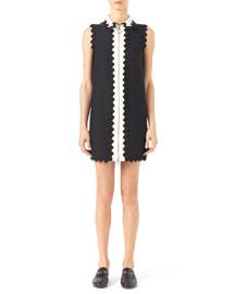 Contrast Cotton-Silk Dress, Black/White