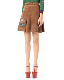 Embroidered Suede Horsebit Skirt, Bengal