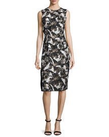 Sleeveless Lace-Embroidered Sheath Dress, Black/White