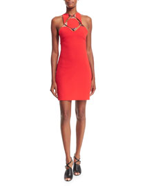 Sleeveless Cutout Cady Halter Dress, Red