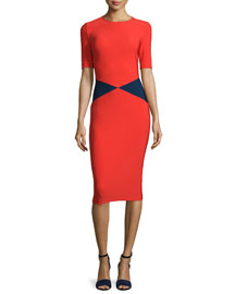 Milano Short-Sleeve Triangle Sheath Dress, Red/Navy